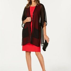 Cejon Sheer Beaded Evening Kimono Wrap Black $68